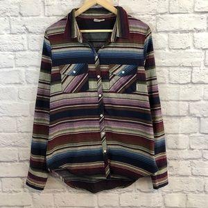 Roxy Flannel Southwestern Aztec Boho Shirt Large